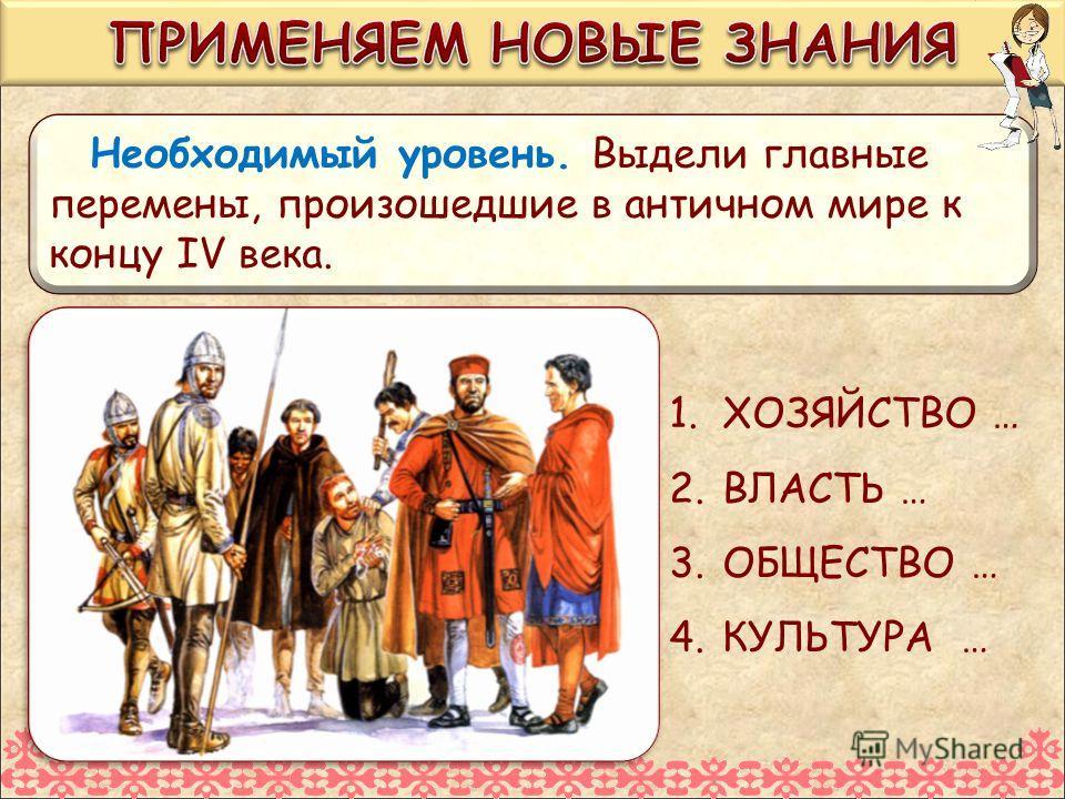 Необходимый уровень. Выдели главные перемены, произошедшие в античном мире к концу IV века. 1.ХОЗЯЙСТВО … 2.ВЛАСТЬ … 3.ОБЩЕСТВО … 4.КУЛЬТУРА …
