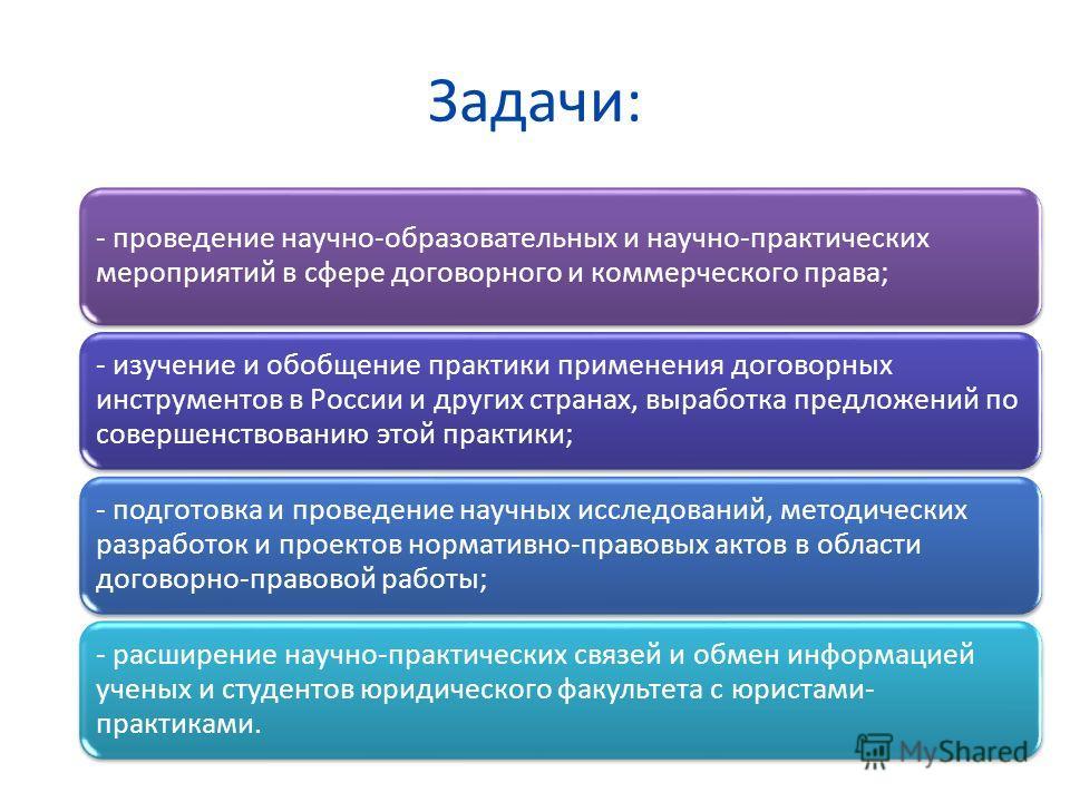 Задачи: - проведение научно-образовательных и научно-практических мероприятий в сфере договорного и коммерческого права; - изучение и обобщение практики применения договорных инструментов в России и других странах, выработка предложений по совершенст