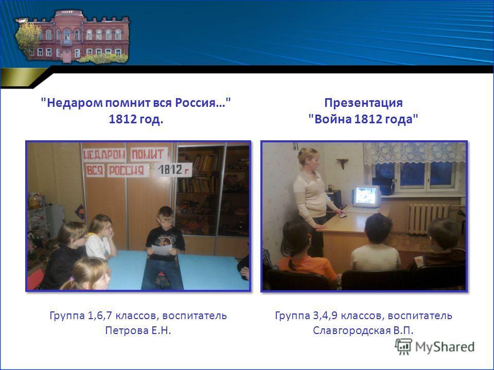 Презентация Война 1812 года Группа 3,4,9 классов, воспитатель Славгородская В.П. Группа 1,6,7 классов, воспитатель Петрова Е.Н. Недаром помнит вся Россия… 1812 год.