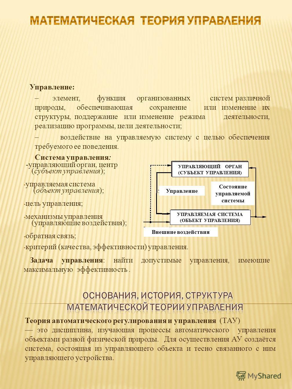 Управление: – элемент, функция организованных систем различной природы, обеспечивающая сохранение или изменение их структуры, поддержание или изменение режима деятельности, реализацию программы, цели деятельности; – воздействие на управляемую систему