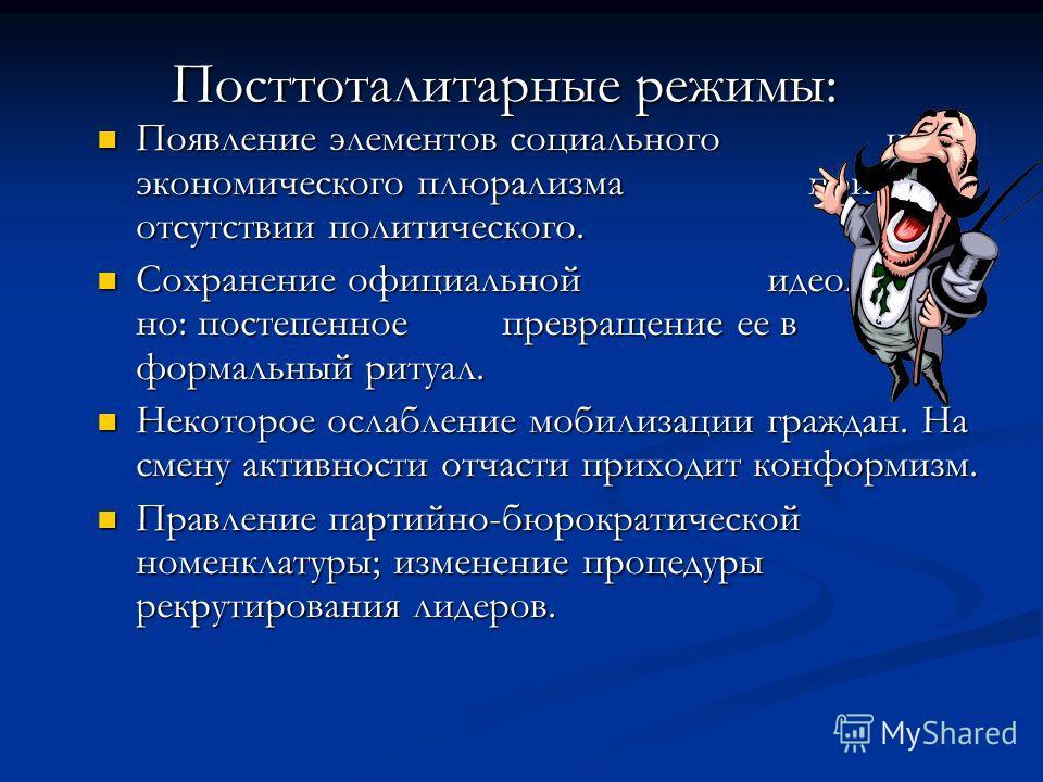 Основные признаки тоталитаризма (были выделены Карлом Фридрихом (1901-1984) и Збигневом Бжезинским (род. 1928)) Тотальная идеология Тотальная идеология Однопартийная система Однопартийная система Монополия на СМИ Монополия на СМИ Система террористиче