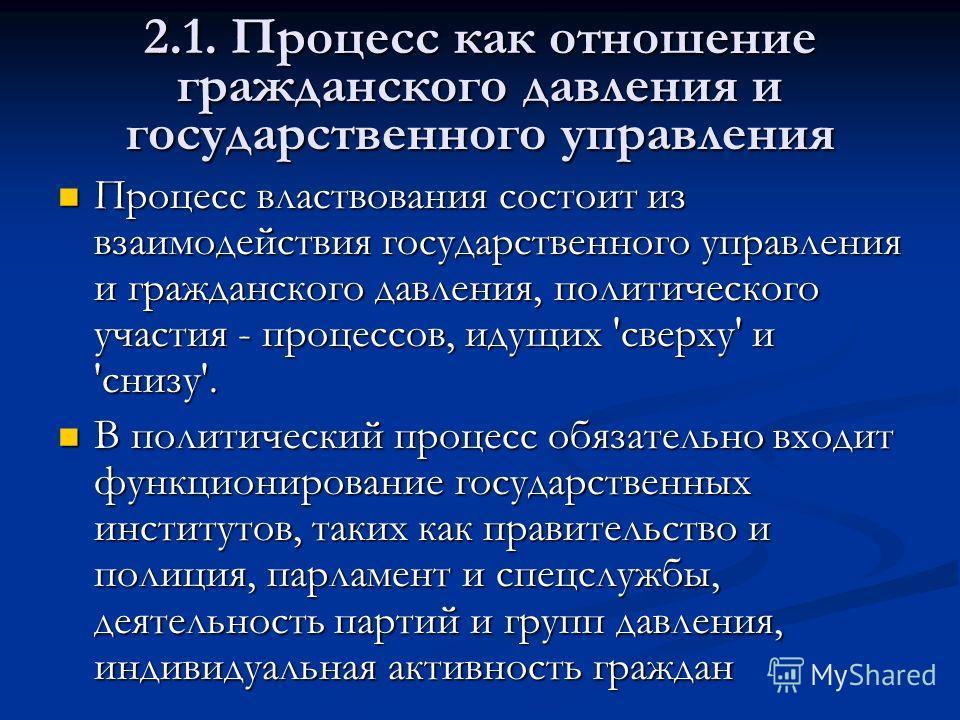 2. Акторы политического процесса 2.1. Процесс как отношение гражданского давления и государственного управления 2.1. Процесс как отношение гражданского давления и государственного управления 2.2. Взаимодействие акторов политического процесса 2.2. Вза