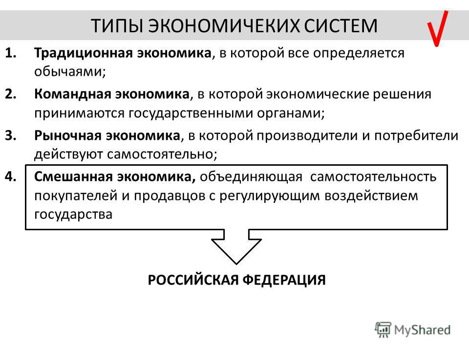 1.Традиционная экономика, в которой все определяется обычаями; 2.Командная экономика, в которой экономические решения принимаются государственными органами; 3.Рыночная экономика, в которой производители и потребители действуют самостоятельно; 4.Смеша