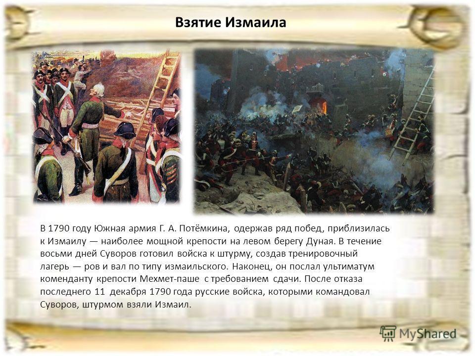 Взятие Измаила В 1790 году Южная армия Г. А. Потёмкина, одержав ряд побед, приблизилась к Измаилу наиболее мощной крепости на левом берегу Дуная. В течение восьми дней Суворов готовил войска к штурму, создав тренировочный лагерь ров и вал по типу изм