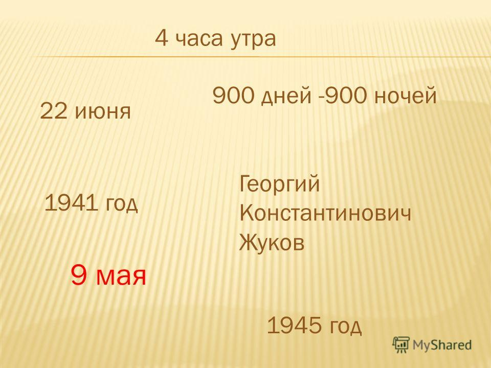 4 часа утра 22 июня 1941 год 900 дней -900 ночей Георгий Константинович Жуков 9 мая 1945 год