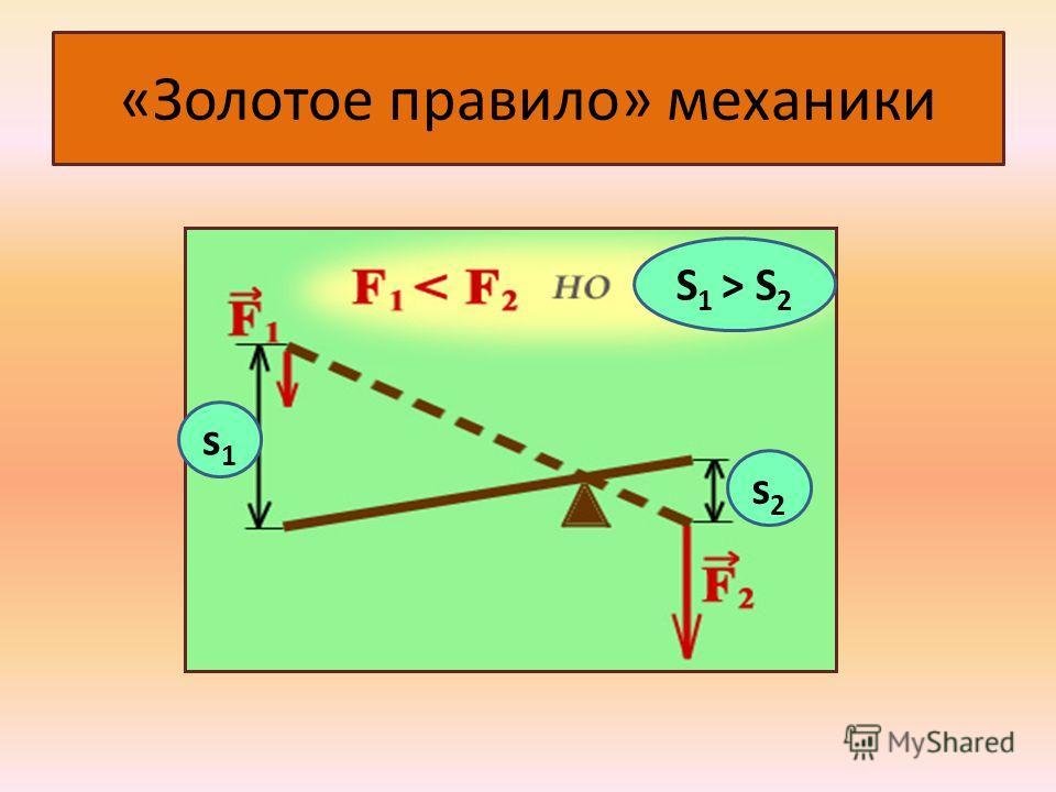 «Золотое правило» механики s1 s1 s1s1 s2s2 S 1 > S 2