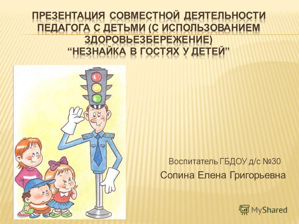 Воспитатель ГБДОУ д/с 30 Сопина Елена Григорьевна