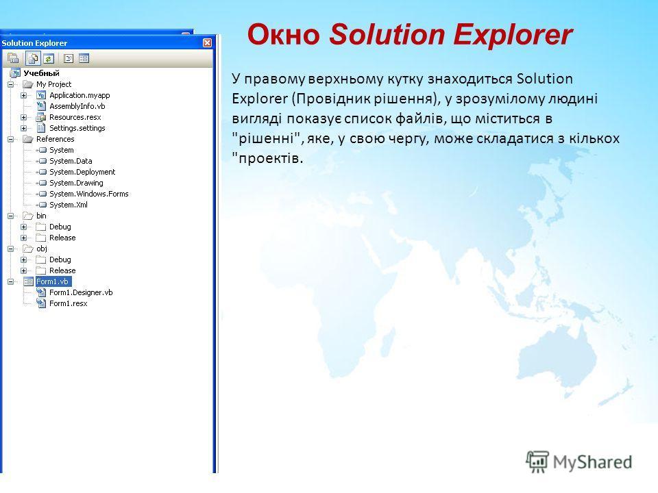 Окно Solution Explorer У правому верхньому кутку знаходиться Solution Explorer (Провідник рішення), у зрозумілому людині вигляді показує список файлів, що міститься в рішенні, яке, у свою чергу, може складатися з кількох проектів.