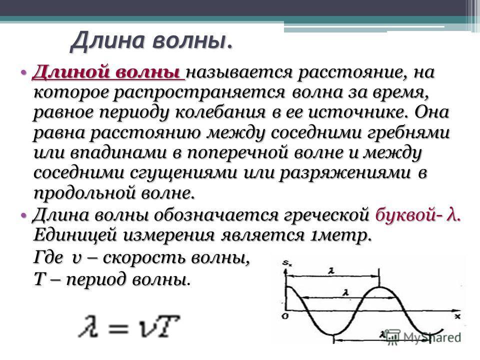 Длина волны. Длиной волны называется расстояние, на которое распространяется волна за время, равное периоду колебания в ее источнике. Она равна расстоянию между соседними гребнями или впадинами в поперечной волне и между соседними сгущениями или разр