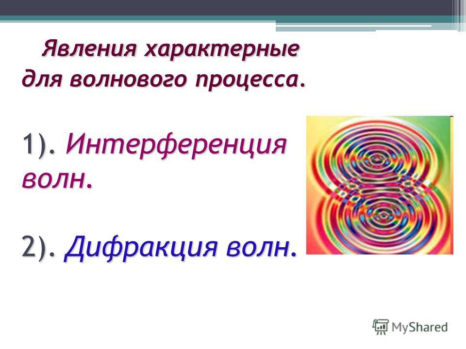 Явления характерные для волнового процесса. 1). Интерференция волн. 2). Дифракция волн. Явления характерные для волнового процесса. 1). Интерференция волн. 2). Дифракция волн.