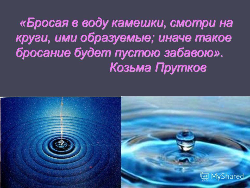 «Бросая в воду камешки, смотри на круги, ими образуемые; иначе такое бросание будет пустою забавою». Козьма Прутков