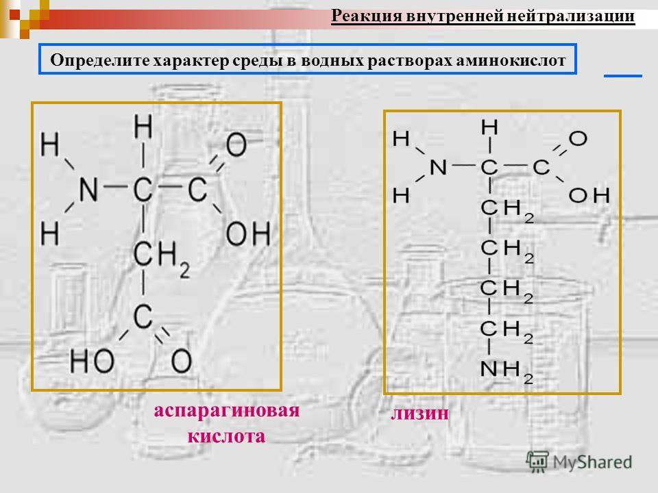 аспарагиновая кислота лизин Определите характер среды в водных растворах аминокислот