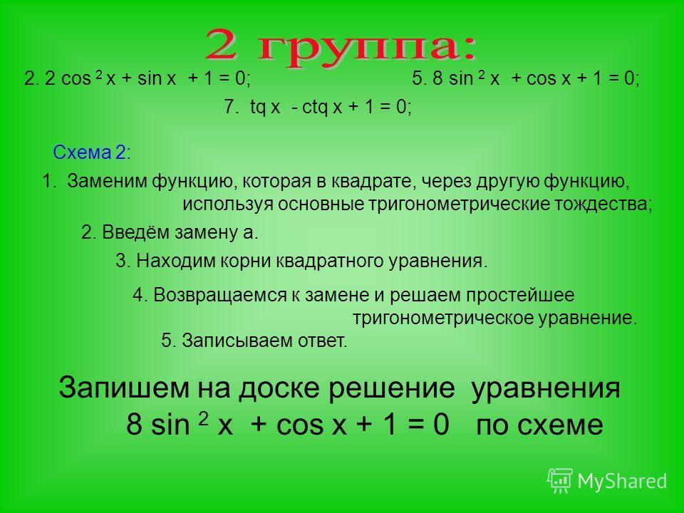 2. 2 cos 2 x + sin x + 1 = 0; 7. tq x - ctq x + 1 = 0; 5. 8 sin 2 x + cos x + 1 = 0; Схема 2: 1.Заменим функцию, которая в квадрате, через другую функцию, используя основные тригонометрические тождества; 2. Введём замену а. 3. Находим корни квадратно