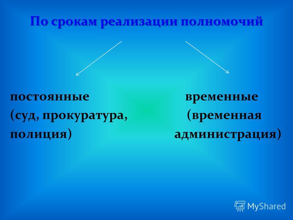 По срокам реализации полномочий постоянные временные (суд, прокуратура, (временная полиция) администрация)