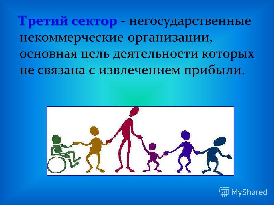 Третий сектор Третий сектор - негосударственные некоммерческие организации, основная цель деятельности которых не связана с извлечением прибыли.