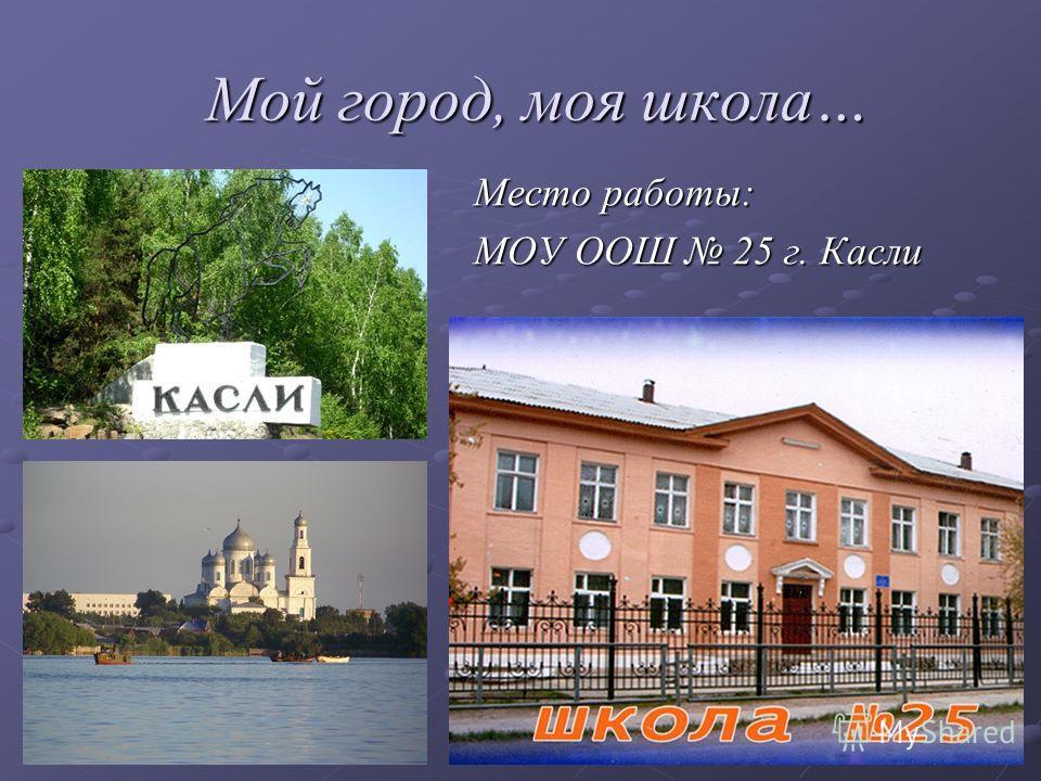 Мой город, моя школа… Мой город, моя школа… Место работы: МОУ ООШ 25 г. Касли