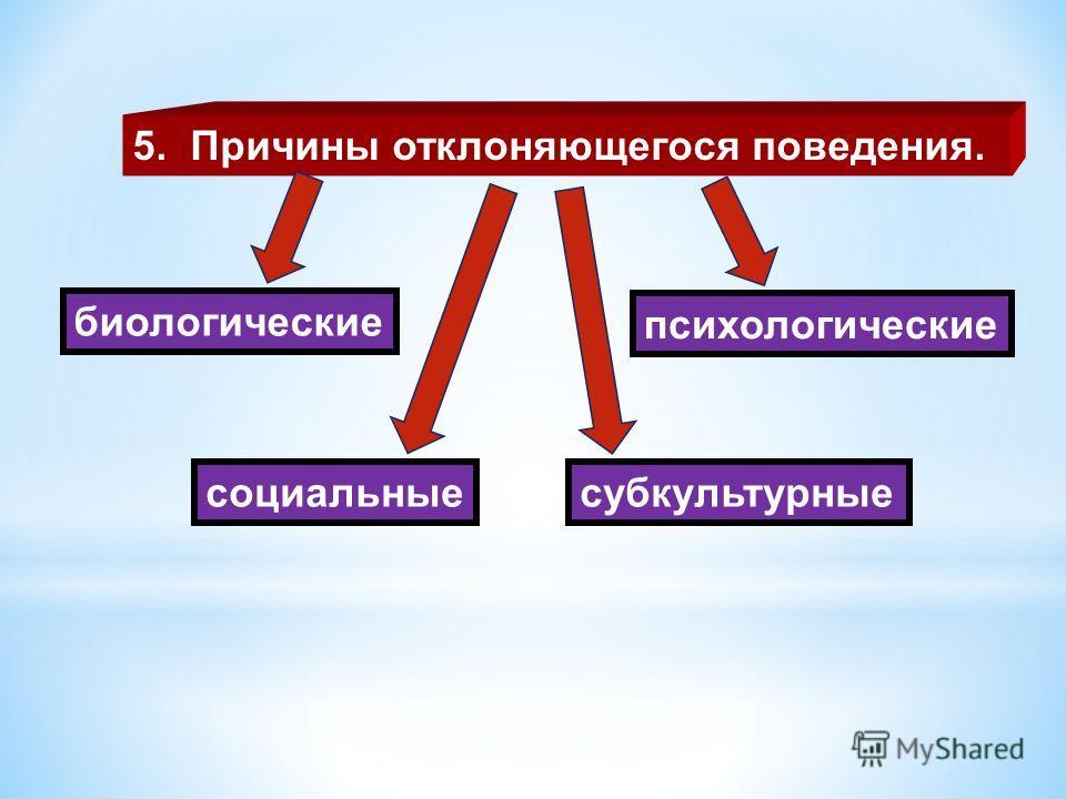 5. Причины отклоняющегося поведения. биологические психологические социальныесубкультурные