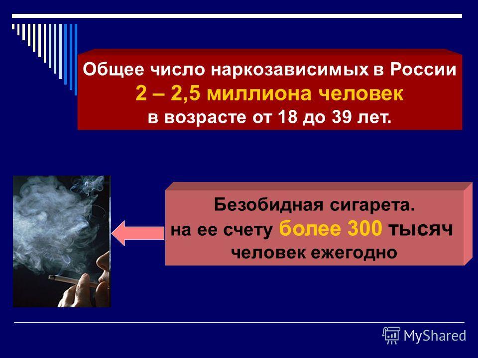 Общее число наркозависимых в России 2 – 2,5 миллиона человек в возрасте от 18 до 39 лет. Безобидная сигарета. на ее счету более 300 тысяч человек ежегодно