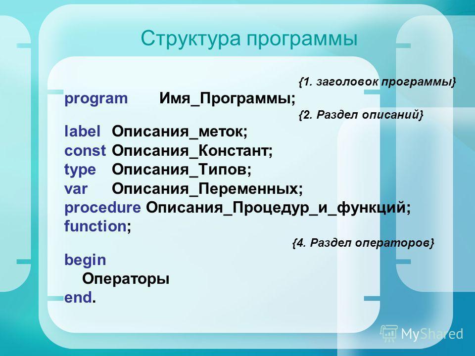 Структура программы {1. заголовок программы} program Имя_Программы; {2. Раздел описаний} label Описания_меток; const Описания_Констант; type Описания_Типов; var Описания_Переменных; procedure Описания_Процедур_и_функций; function; {4. Раздел оператор