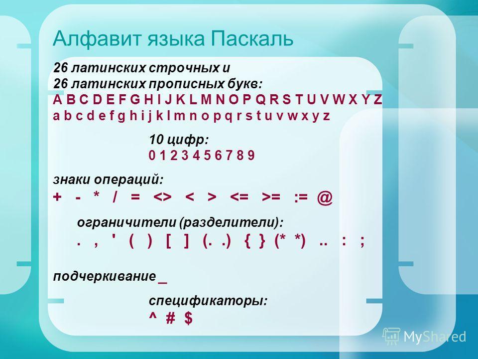 Алфавит языка Паскаль 26 латинских строчных и 26 латинских прописных букв: A B C D E F G H I J K L M N O P Q R S T U V W X Y Z a b c d e f g h i j k l m n o p q r s t u v w x y z 10 цифр: 0 1 2 3 4 5 6 7 8 9 знаки операций: + - * / =  = := @ ограничи
