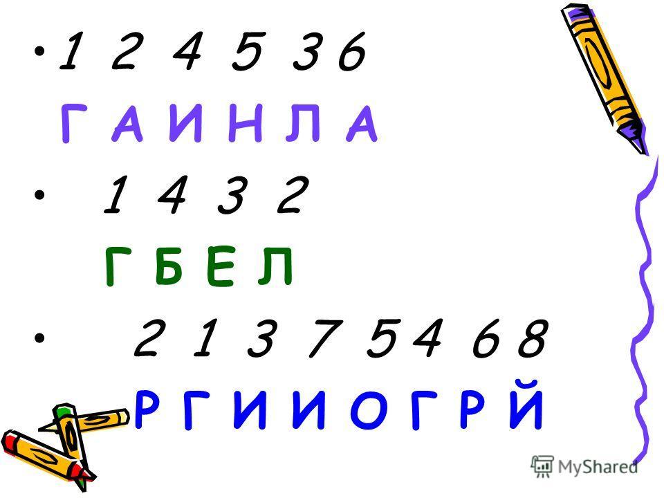 1 2 4 5 3 6 Г А И Н Л А 1 4 3 2 Г Б Е Л 2 1 3 7 5 4 6 8 Р Г И И О Г Р Й
