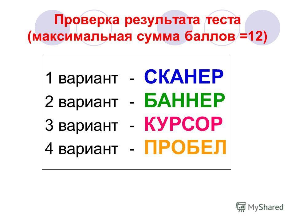 Проверка результата теста (максимальная сумма баллов =12) 1 вариант - СКАНЕР 2 вариант - БАННЕР 3 вариант - КУРСОР 4 вариант - ПРОБЕЛ