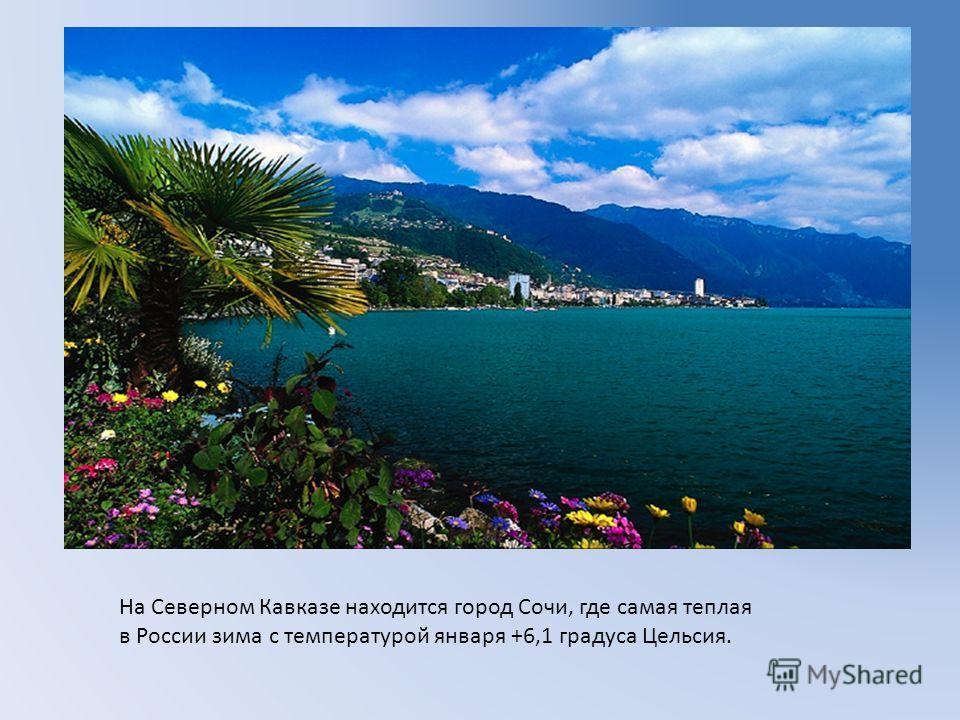 На Северном Кавказе находится город Сочи, где самая теплая в России зима с температурой января +6,1 градуса Цельсия.