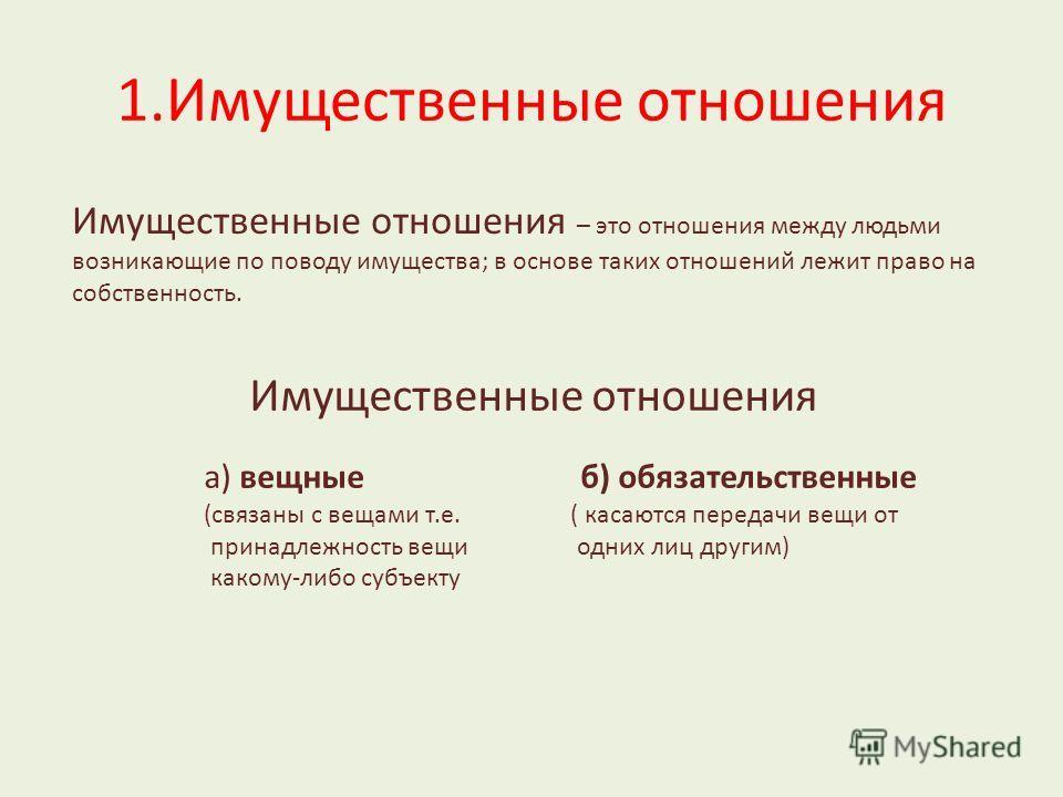 1.Имущественные отношения Имущественные отношения – это отношения между людьми возникающие по поводу имущества; в основе таких отношений лежит право на собственность. Имущественные отношения а) вещные б) обязательственные (связаны с вещами т.е. ( кас