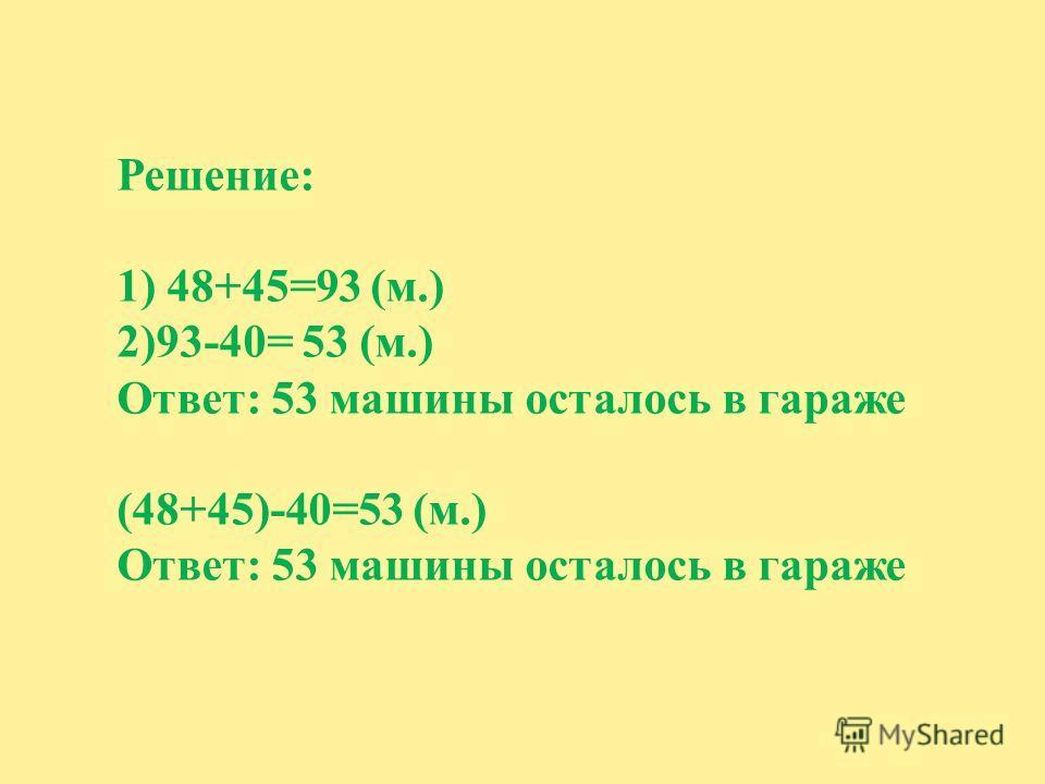 Решение: 1) 48+45=93 (м.) 2)93-40= 53 (м.) Ответ: 53 машины осталось в гараже (48+45)-40=53 (м.) Ответ: 53 машины осталось в гараже
