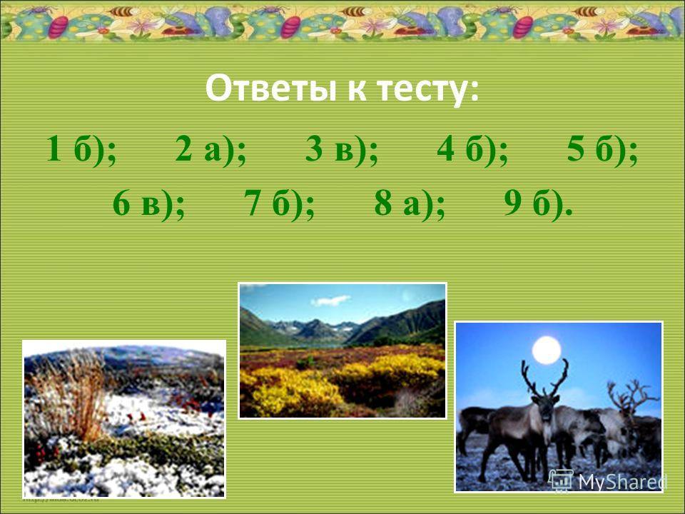 Ответы к тесту: 1 б); 2 а); 3 в); 4 б); 5 б); 6 в); 7 б); 8 а); 9 б).