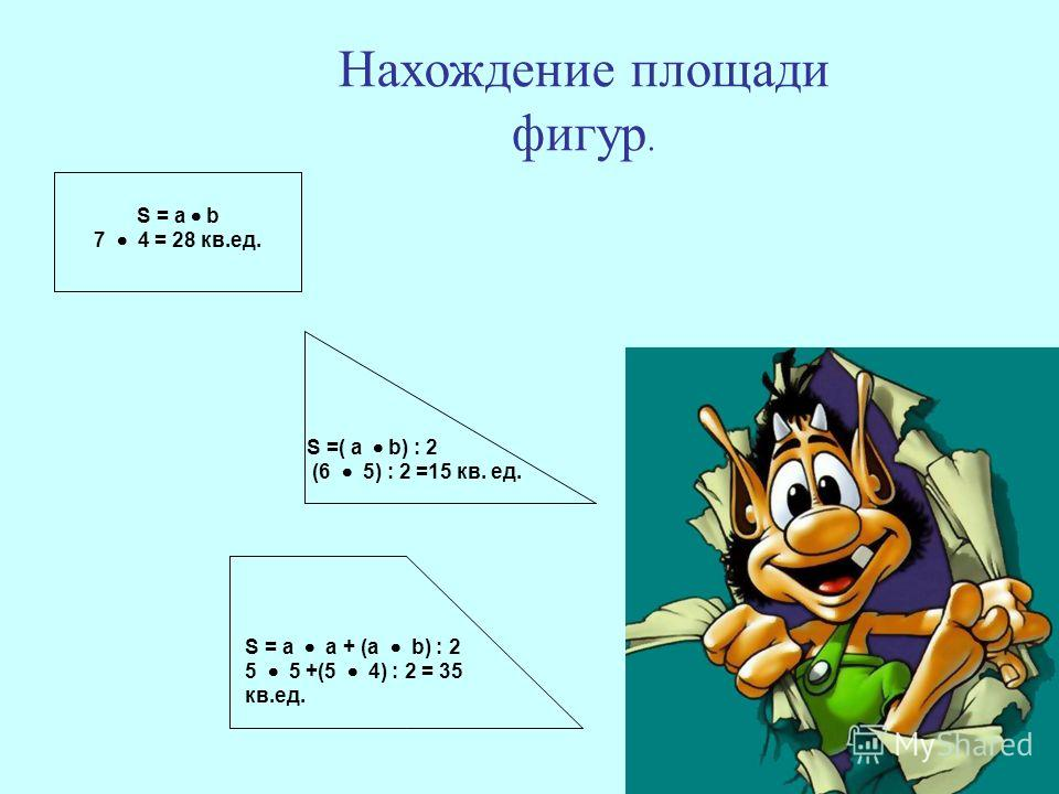 S =( a b) : 2 (6 5) : 2 =15 кв. ед. S = a b 7 4 = 28 кв.ед. S = a a + (a b) : 2 5 5 +(5 4) : 2 = 35 кв.ед. Нахождение площади фигур.