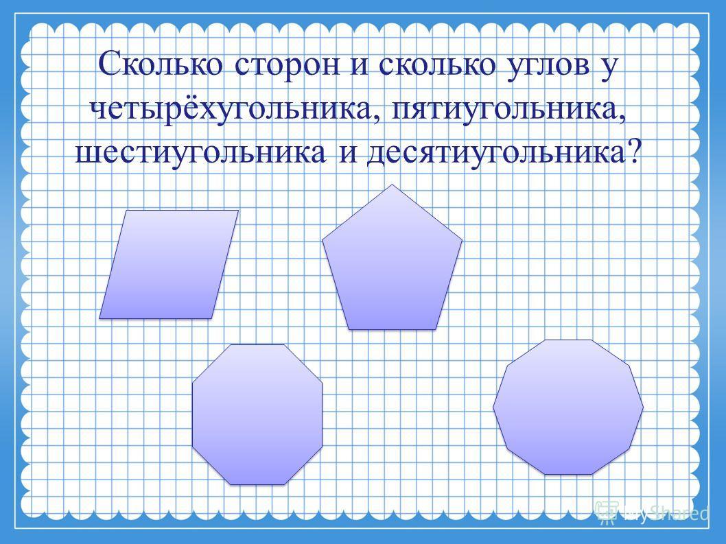 Сколько сторон и сколько углов у четырёхугольника, пятиугольника, шестиугольника и десятиугольника?