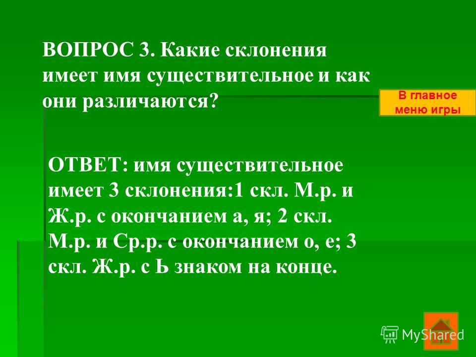 ВОПРОС 3. Какие склонения имеет имя существительное и как они различаются? ОТВЕТ: имя существительное имеет 3 склонения:1 скл. М.р. и Ж.р. с окончанием а, я; 2 скл. М.р. и Ср.р. с окончанием о, е; 3 скл. Ж.р. с Ь знаком на конце. В главное меню игры