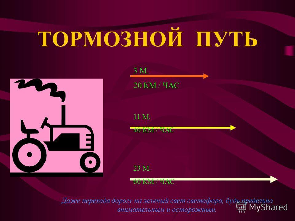 Расстояние, которое автотранспорт проходит с момента торможения до полной остановки, называется тормозным путем. Чем больше скорость и вес мотоцикла или автобуса, поезда или парохода, тем его тормозной путь больше.
