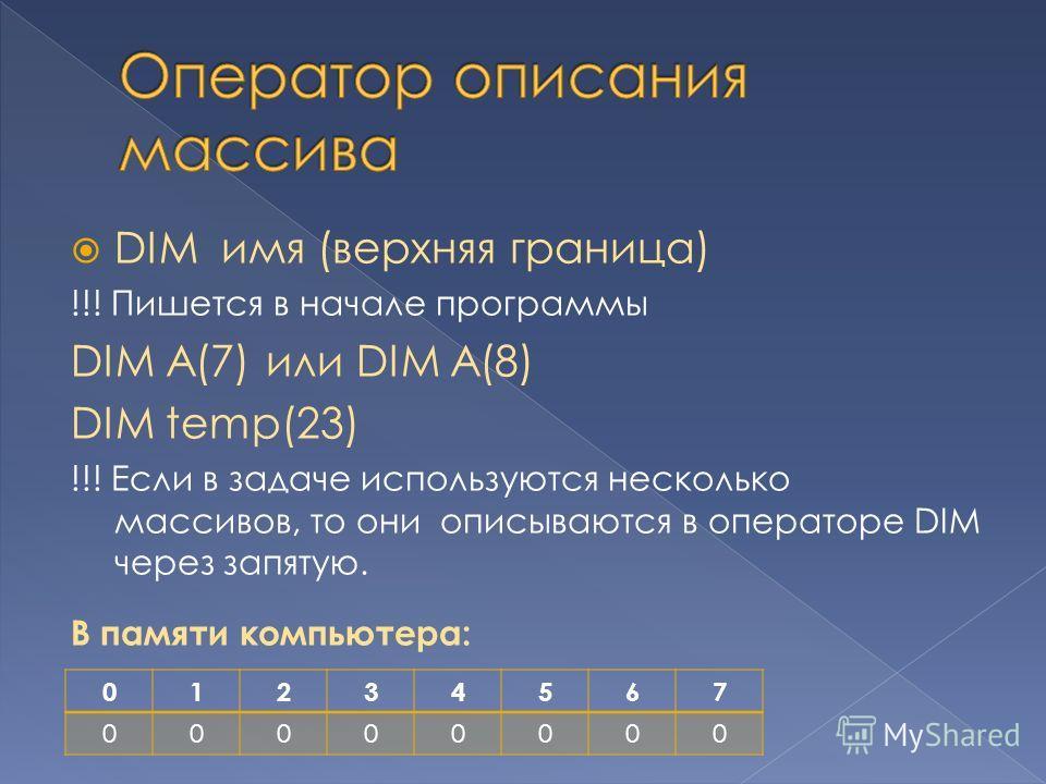 DIM имя (верхняя граница) !!! Пишется в начале программы DIM A(7) или DIM A(8) DIM temp(23) !!! Если в задаче используются несколько массивов, то они описываются в операторе DIM через запятую. В памяти компьютера: 01234567 00000000