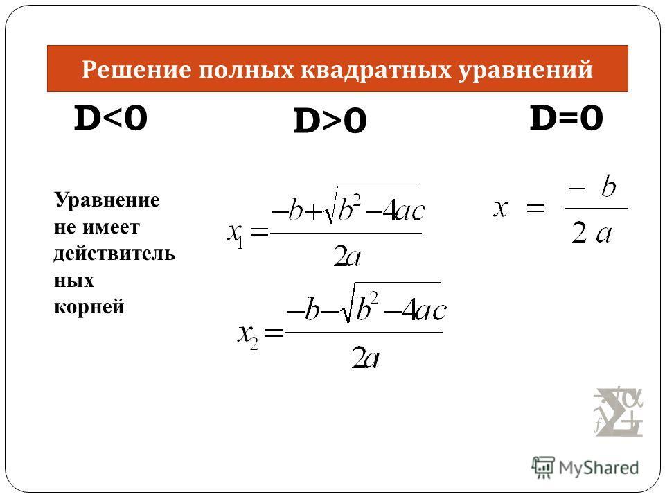 Уравнение не имеет действитель ных корней D0 D=0 Решение полных квадратных уравнений