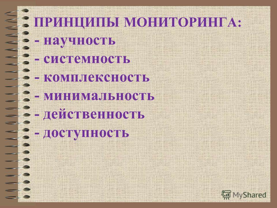 ПРИНЦИПЫ МОНИТОРИНГА: - научность - системность - комплексность - минимальность - действенность - доступность
