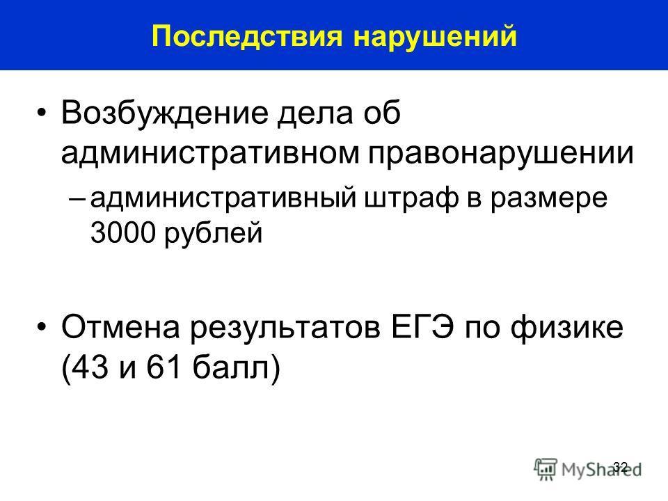 32 Возбуждение дела об административном правонарушении –административный штраф в размере 3000 рублей Отмена результатов ЕГЭ по физике (43 и 61 балл) Последствия нарушений
