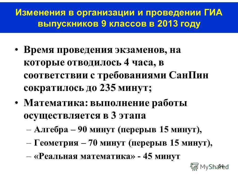 54 Время проведения экзаменов, на которые отводилось 4 часа, в соответствии с требованиями СанПин сократилось до 235 минут; Математика: выполнение работы осуществляется в 3 этапа –Алгебра – 90 минут (перерыв 15 минут), –Геометрия – 70 минут (перерыв