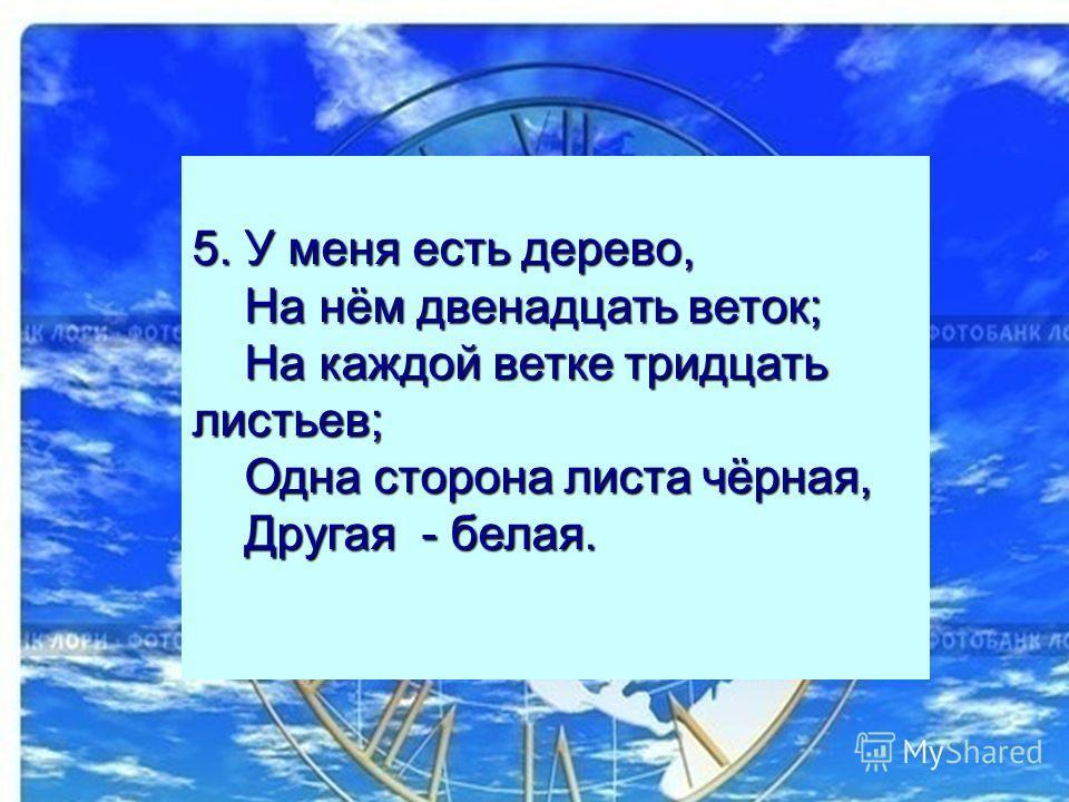 5. У меня есть дерево, На нём двенадцать веток; На каждой ветке тридцать листьев; Одна сторона листа чёрная, Другая - белая.