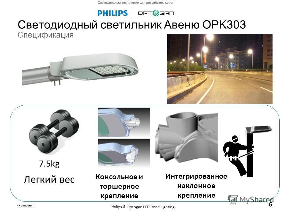 11/20/2013 Philips & Optogan LED Road Lighting 6 Светодиодный светильник Авеню OPK303 Спецификация Легкий вес Консольное и торшерное крепление Интегрированное наклонное крепление 7.5kg