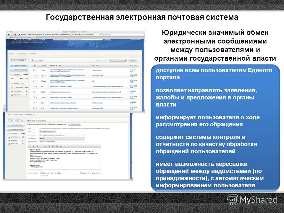 10 Государственная электронная почтовая система Юридически значимый обмен электронными сообщениями между пользователями и органами государственной власти доступна всем пользователям Единого портала позволяет направлять заявления, жалобы и предложения