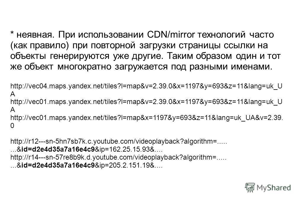 * неявная. При использовании CDN/mirror технологий часто (как правило) при повторной загрузки страницы ссылки на объекты генерируются уже другие. Таким образом один и тот же объект многократно загружается под разными именами. http://vec04.maps.yandex