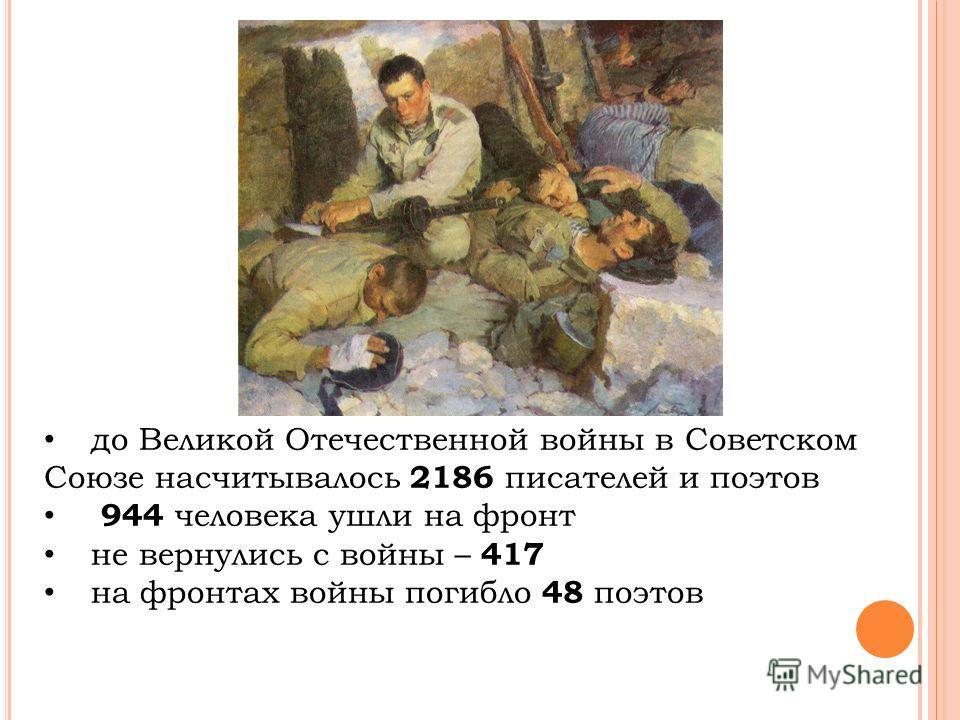 до Великой Отечественной войны в Советском Союзе насчитывалось 2186 писателей и поэтов 944 человека ушли на фронт не вернулись с войны – 417 на фронтах войны погибло 48 поэтов