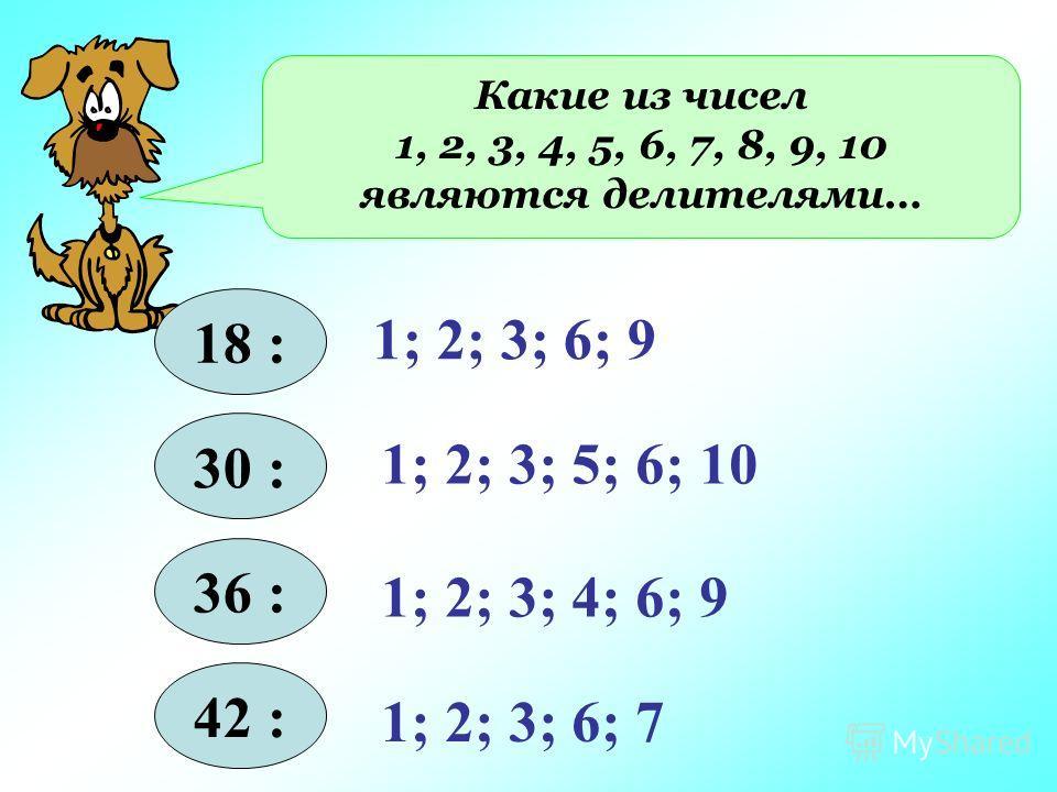 Какие из чисел 1, 2, 3, 4, 5, 6, 7, 8, 9, 10 являются делителями… 18 : 30 : 36 : 42 : 1; 2; 3; 6; 9 1; 2; 3; 5; 6; 10 1; 2; 3; 4; 6; 9 1; 2; 3; 6; 7