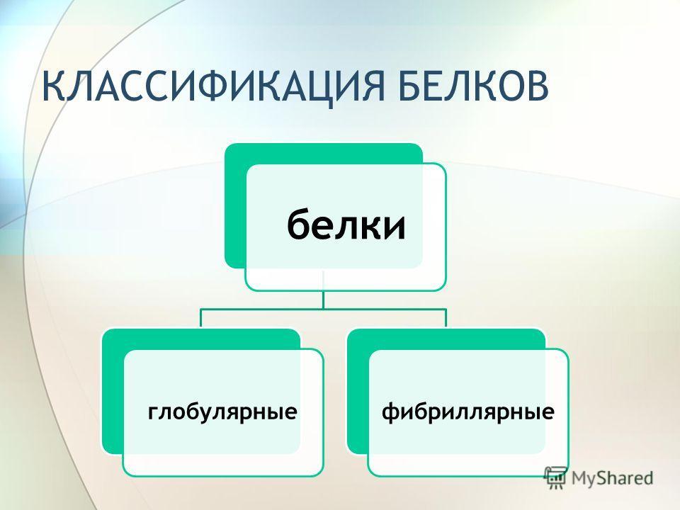 КЛАССИФИКАЦИЯ БЕЛКОВ белки глобулярныефибриллярные