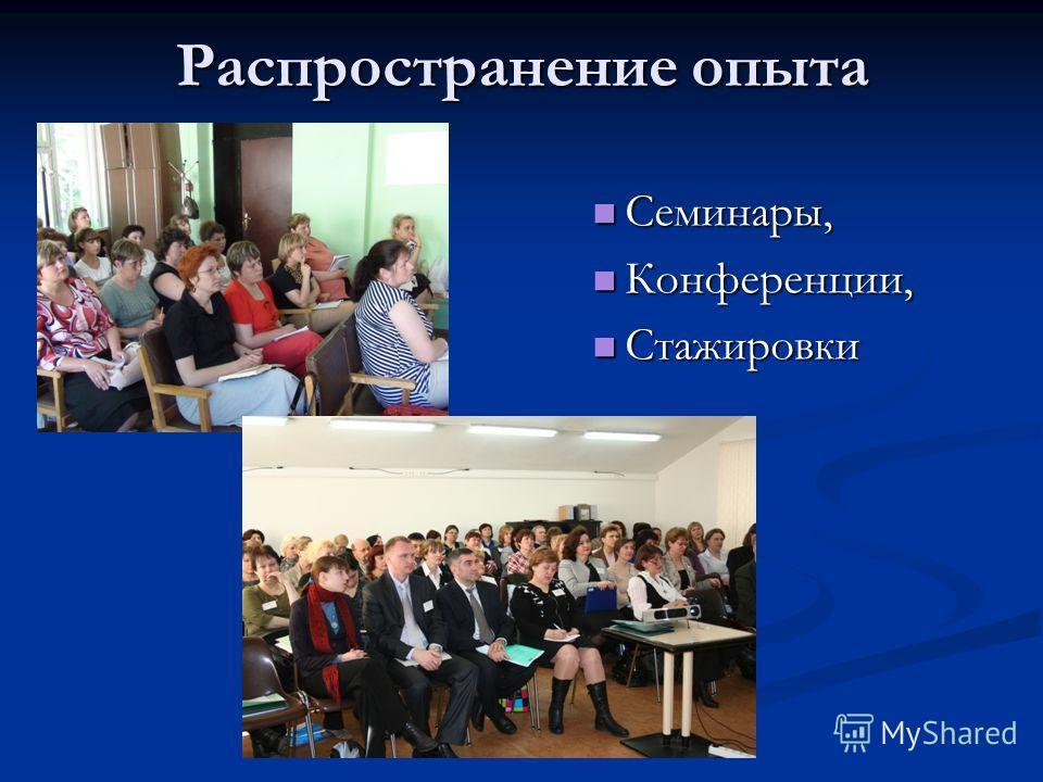 Распространение опыта Семинары, Конференции, Стажировки