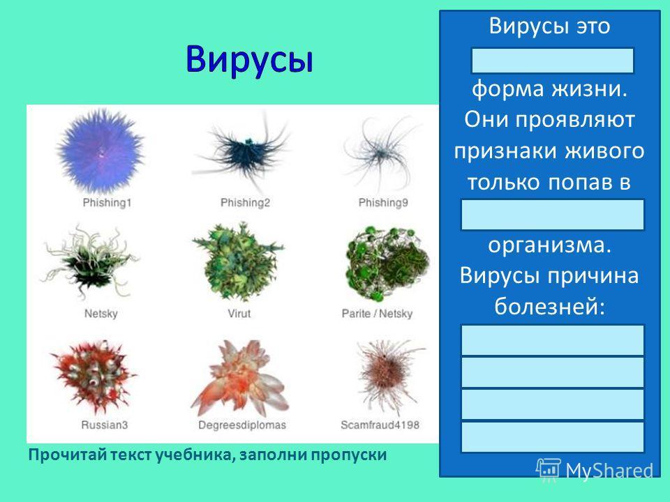Вирусы это неклеточная форма жизни. Они проявляют признаки живого только попав в клетку другого организма. Вирусы причина болезней: СПИДа Грипп Полиомиелит бешенство Прочитай текст учебника, заполни пропуски