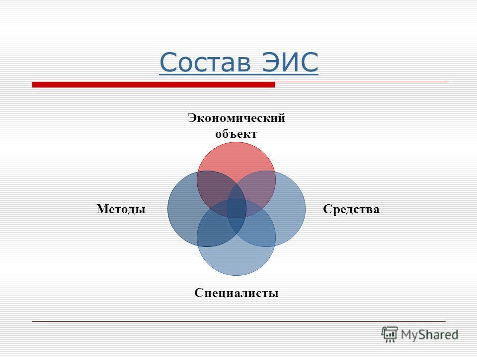 Состав ЭИС Экономический объект Средства Специалисты Методы