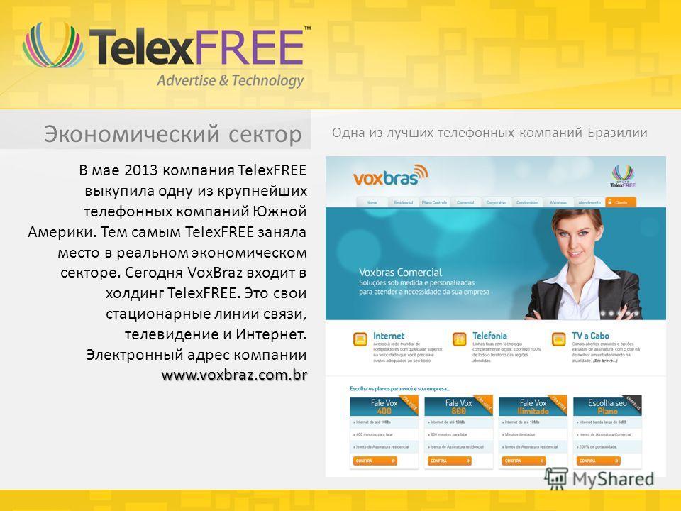 Экономический сектор Одна из лучших телефонных компаний Бразилии www.voxbraz.com.br В мае 2013 компания TelexFREE выкупила одну из крупнейших телефонных компаний Южной Америки. Тем самым TelexFREE заняла место в реальном экономическом секторе. Сегодн